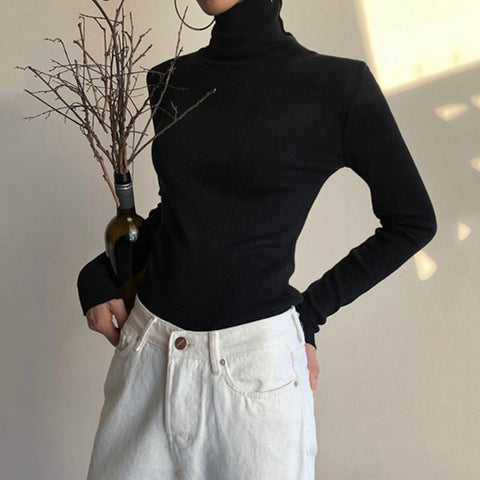 Women's Casual High Collar Pure Color Tight Sweater