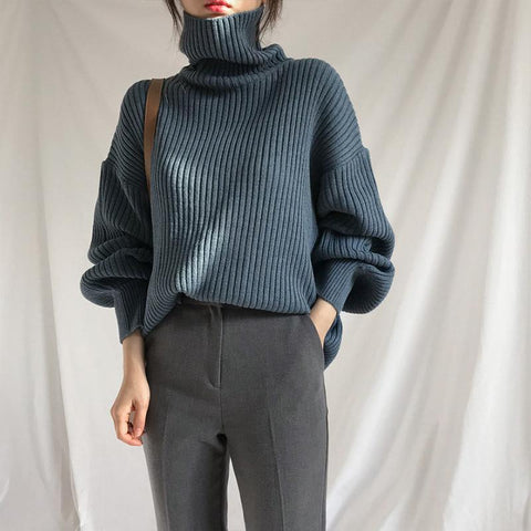 Simple Solid Color Turtleneck Sweater