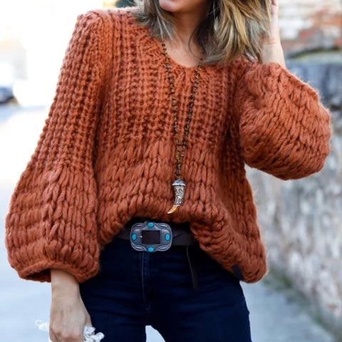 Casual V-neck Solid Color Puff Sleeve Knit Sweater
