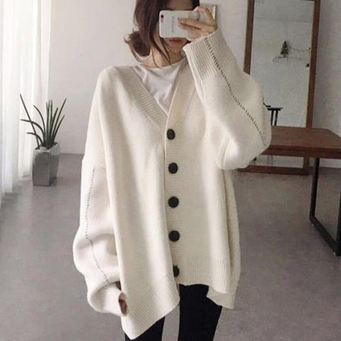 Women's Casual Deep V-Neck Long Sleeve Pure Color Loose Sweater