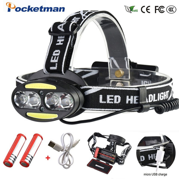 Headlight 30000 Lumen headlamp 4*XM-L T6 +2*COB+2*Red LED Head Lamp Flashlight Torch