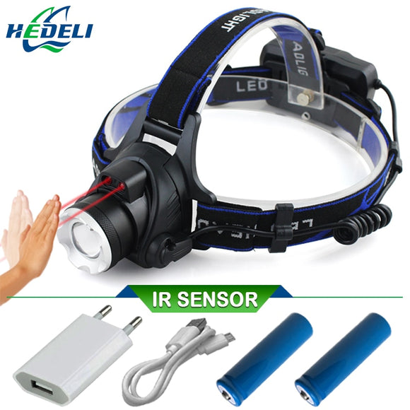 Yellow light white light IR sensor head lamp led l2 USB headlamp fishing lamp