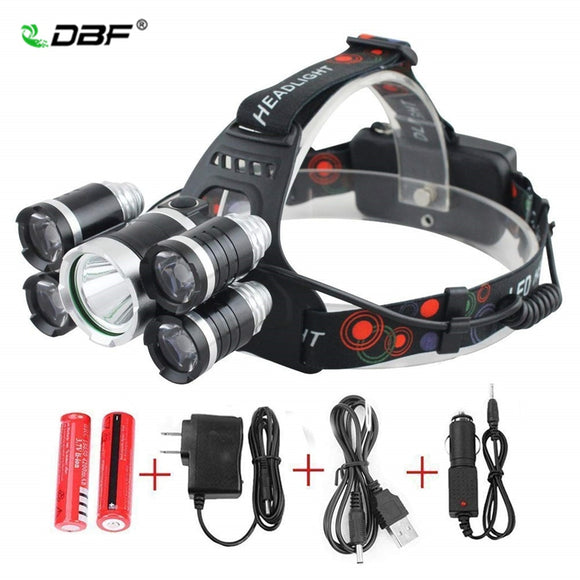 DBF 13000LM High Power Headlight LED Headlamp T6 4*Q5 5 Chip Head Lamp Flashlight Torch