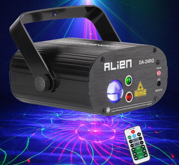 Remote RG 24 Patterns Rotating DJ Laser Projector Stage Lighting Effect Party Dance