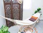 Macrame Hammock ALESSANDRA - Off White Boho Style Cotton Canvas- DELUXE