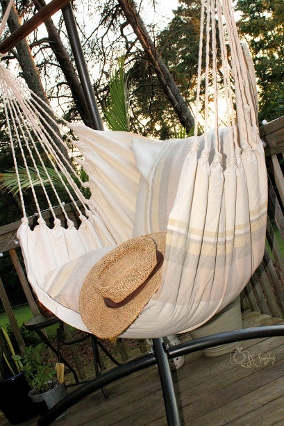 Tan Natural Cotton Hammock Chair + 2 Pillows Set