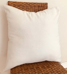 Natural Cotton Throw Pillow Cover-  White LARGE