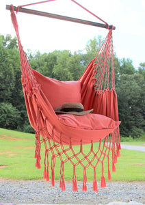 Coral Blush Macrame Hammock Swing Chair +2 Pillows Set:  BOHO STYLE DECOR Hanging Chair