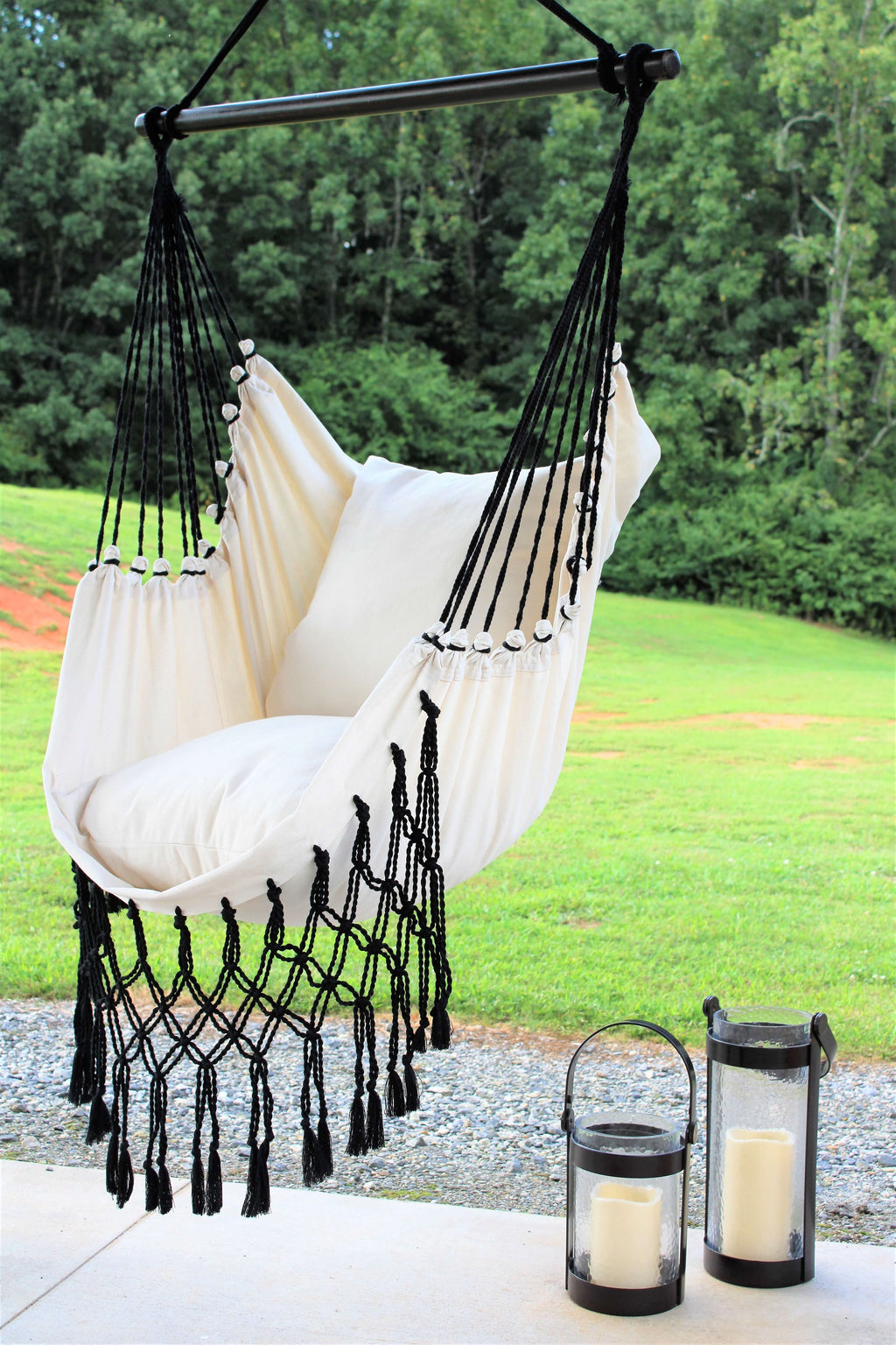 black white macrame hammock swing chair
