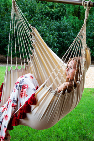 Colorful Red Boho Hammock Swing Chair + 2 Tassel Pillows Set