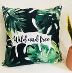 Wild and Free Botanical Throw Pillow Cover