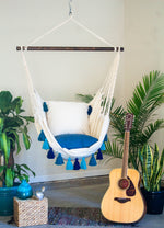 Turquoise Macrame Hammock with Tassels + 2 Tassel Pillow Set