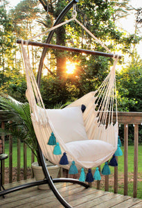 Turquoise Boho Style Hammock Swing Chair+ 2 Tassel Pillows Set: Boho Hanging Swing Chair