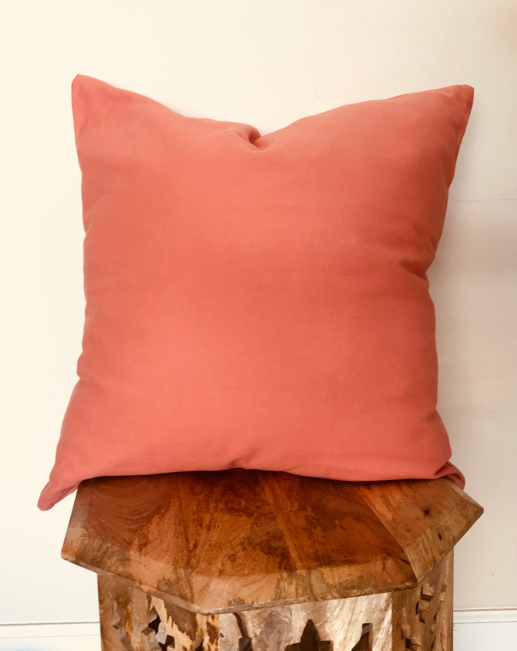 Coral Blush Natural Cotton Throw Pillow Cover-  LARGE