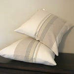 Tan Striped Cotton Pillow