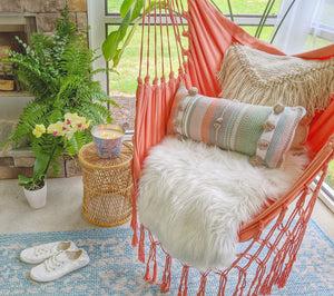 Coral Blush Macrame Hammock Chair + 2 Pillows Set