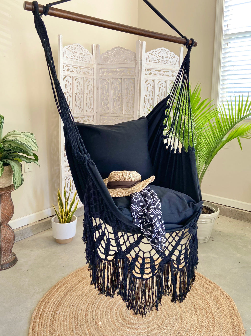 indoor macrame hammock chair