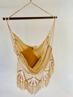 NINA Off White Crochet Hammock Chair + 2 Pillows Set