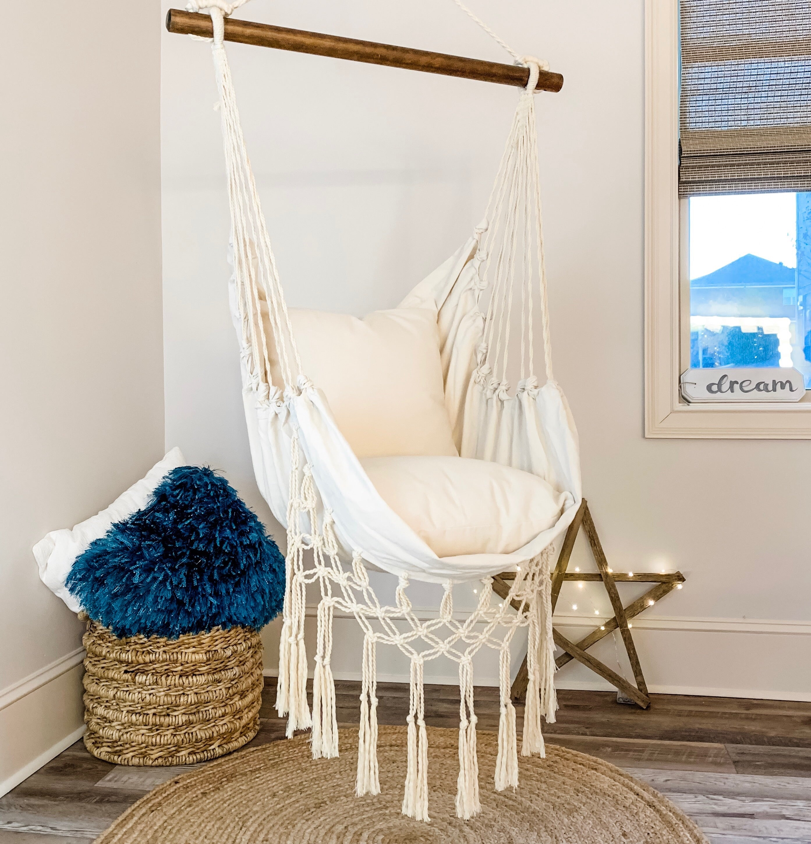 JUNIOR Macrame Natural Off White Hammock Swing Chair +2 Pillows  BOHO STYLE Hanging Chair