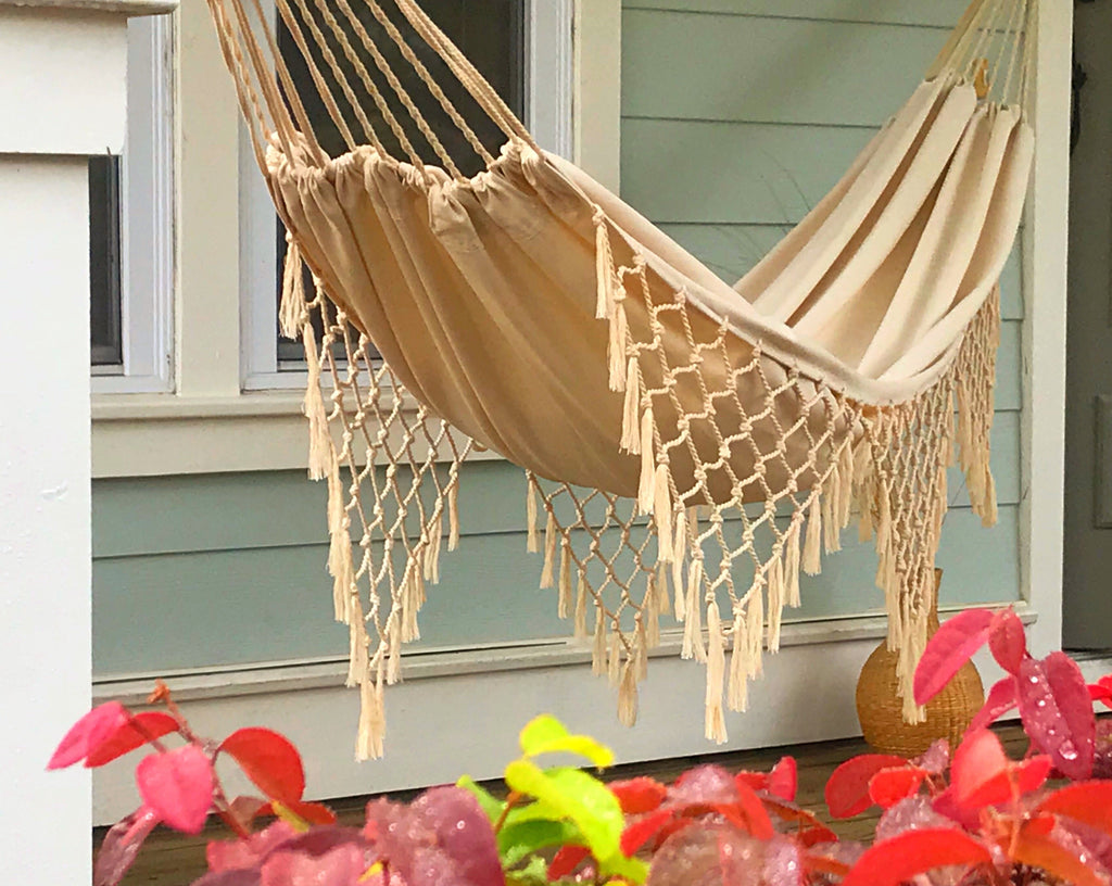 ALESSANDRA Macrame Hammock - Off White Cotton Canvas- DELUXE