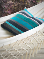 Turquoise Blue Striped Decorative Pillow