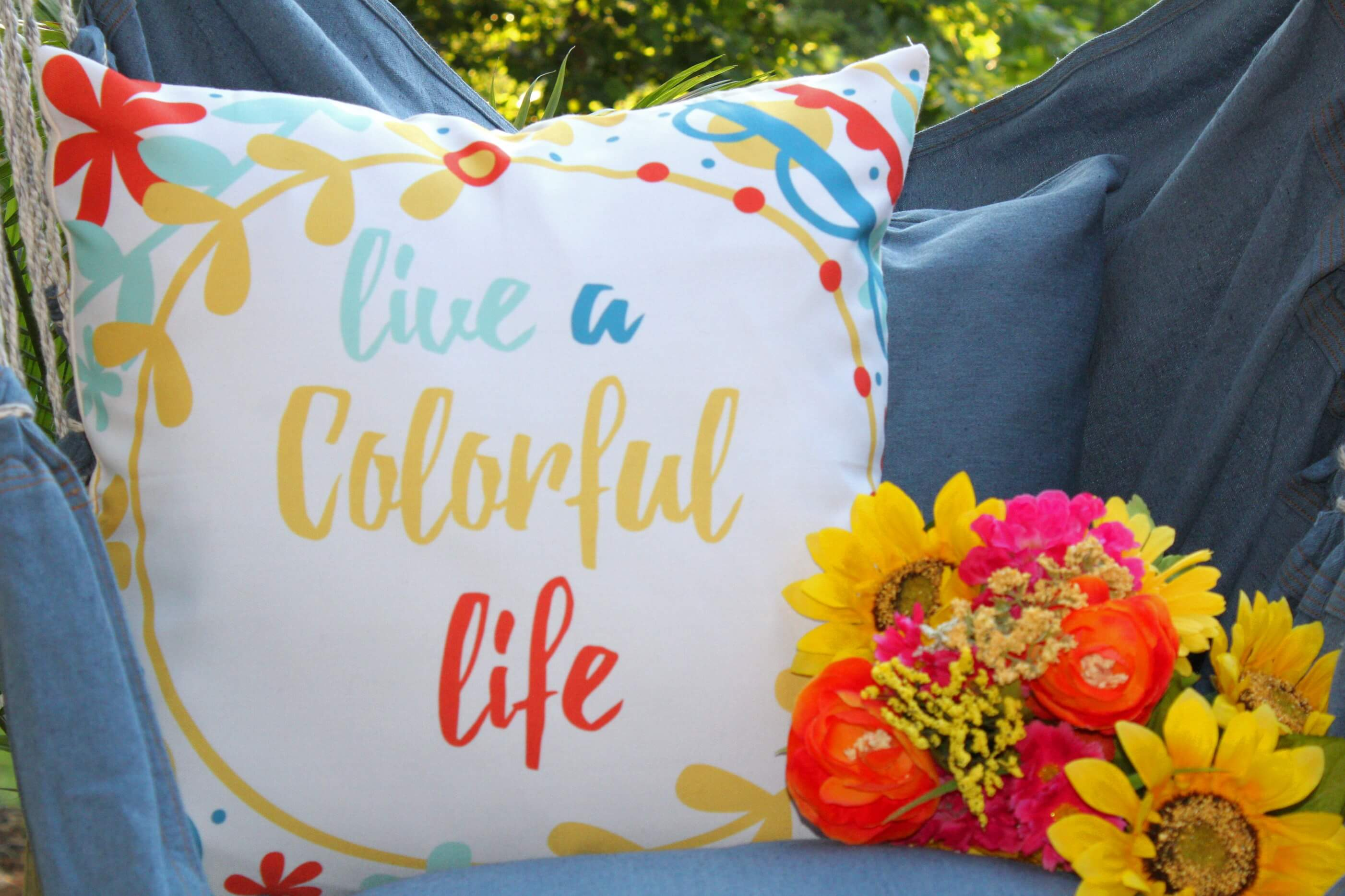 Live a Colorful Life Throw Pillow Cover