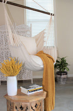 hammock chair swing indoors white beige organic