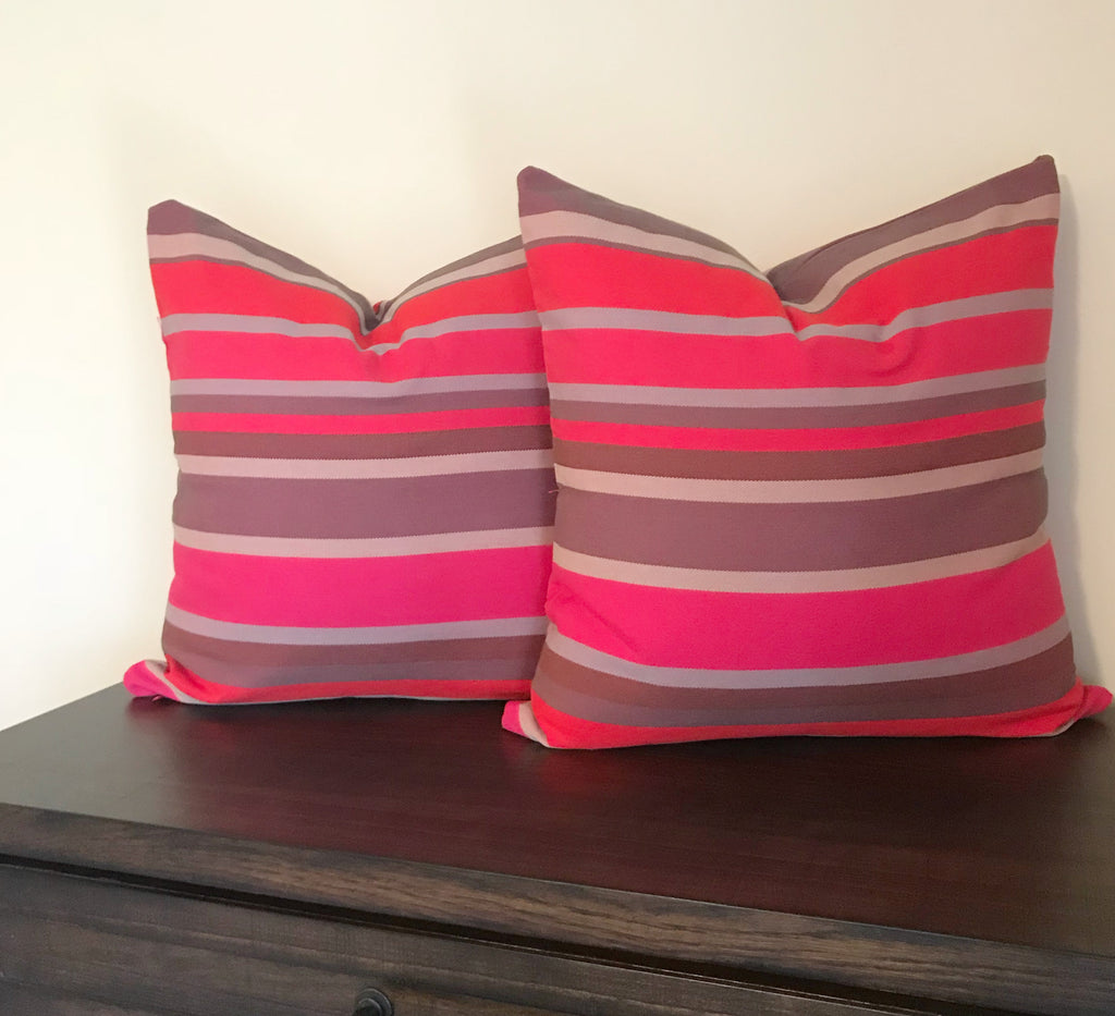 Colorful Striped Pink Red Pillow