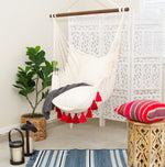 red tassel hammock macrame crochet chair bohochic