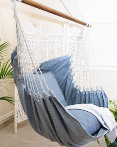 Striped Blue Jeans Denim Hammock Swing Chair + 2 Pillows Set
