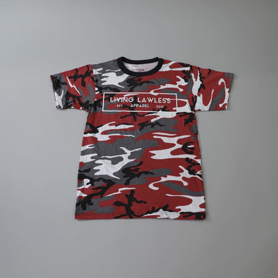 Red Camo T Shirt w/White Logo