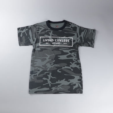 Black Camo T Shirt w/White Logo