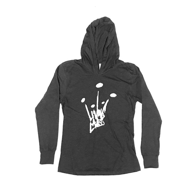 Black Unisex Tri-Blend Long Sleeve Thin Hoodie w/White Crown Logo