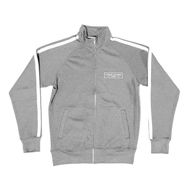 Gunmetal Heather/White Unisex Lightweight Poly-Tech Track Jacket