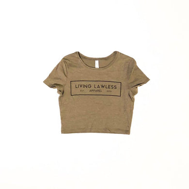 Heather Olive Women's Poly-Cotton Crop Tee
