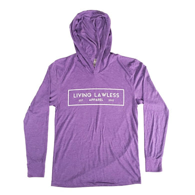 Heather Purple Unisex Tri-Blend Long Sleeve Thin Hoodie w/White Original Logo
