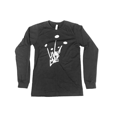 Long Sleeve Heather Black T Shirt w/ White Crown Logo
