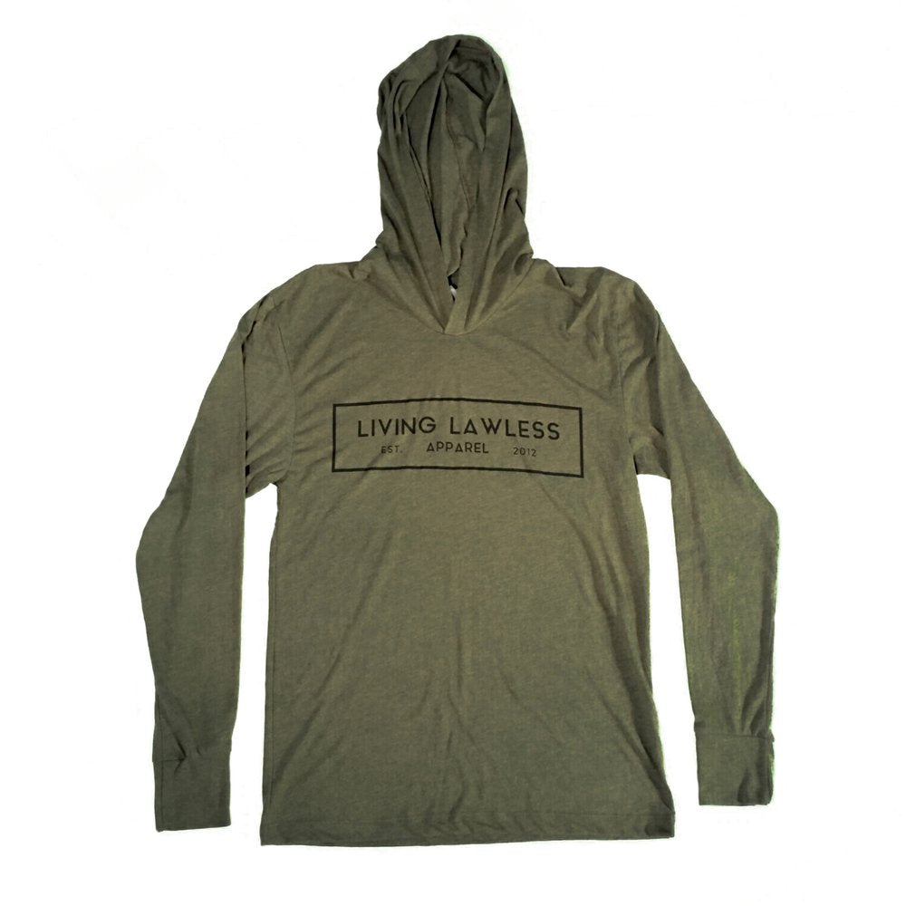 Military Green Unisex Tri-Blend Long Sleeve Thin Hoodie w/Black Original Logo