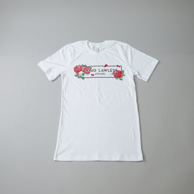 Living Lawless Apparel Rose Logo White T Shirt