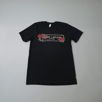 Living Lawless Apparel Rose Logo Black T Shirt