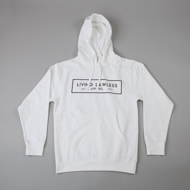White Midweight Hooded Pullover Sweatshirt