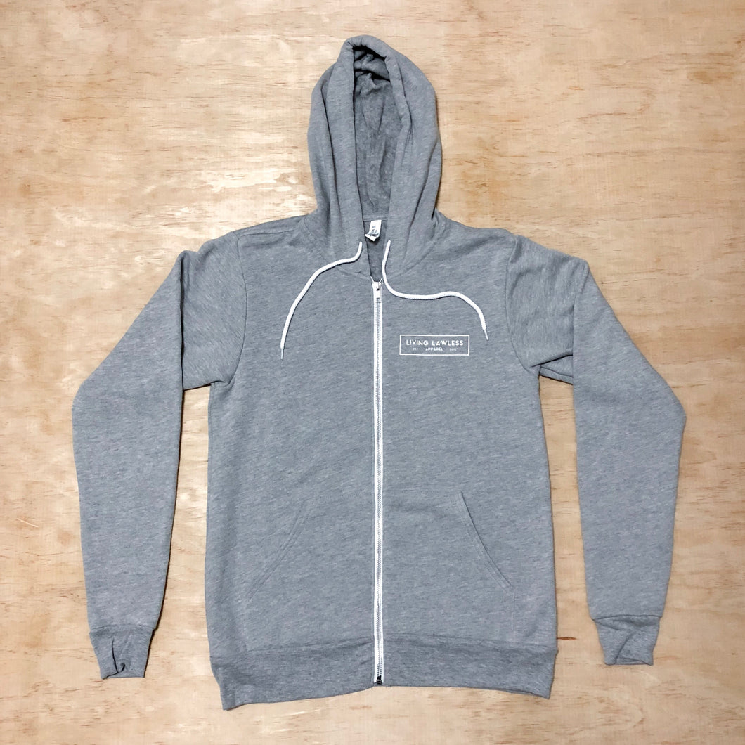 Light Heather Gray/White Unisex Fleece Full Zip Hoodie