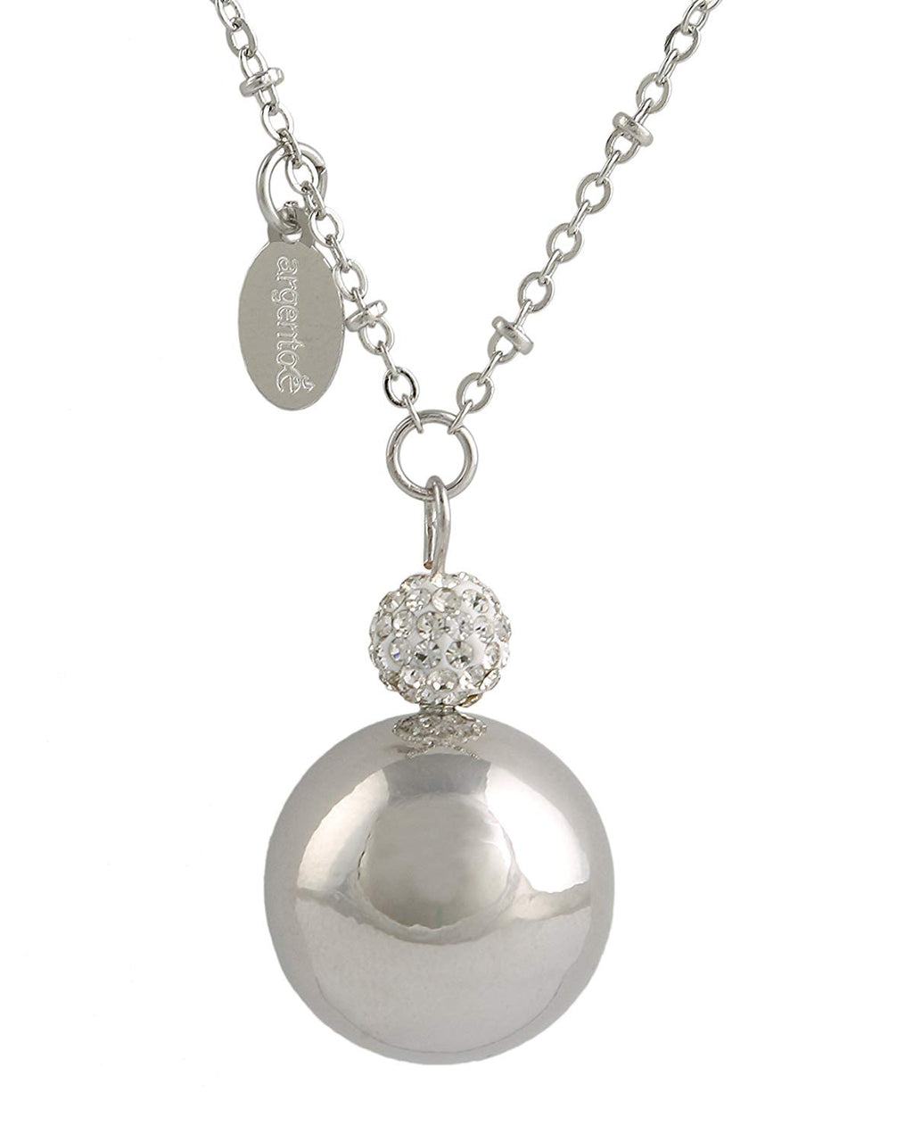 Chiama Angeli BOLA Messicana rodiata con Cristalli e Strass Silver Mother Care con Collana cm.100