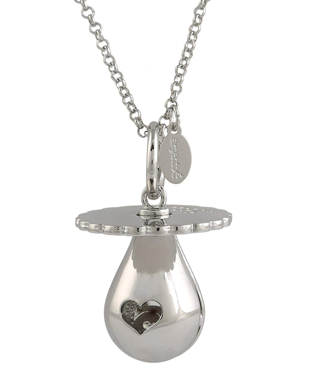Ciuccio  Chiama Angeli BOLA Messicana rodiata  Silver Mother Care con Collana cm.100