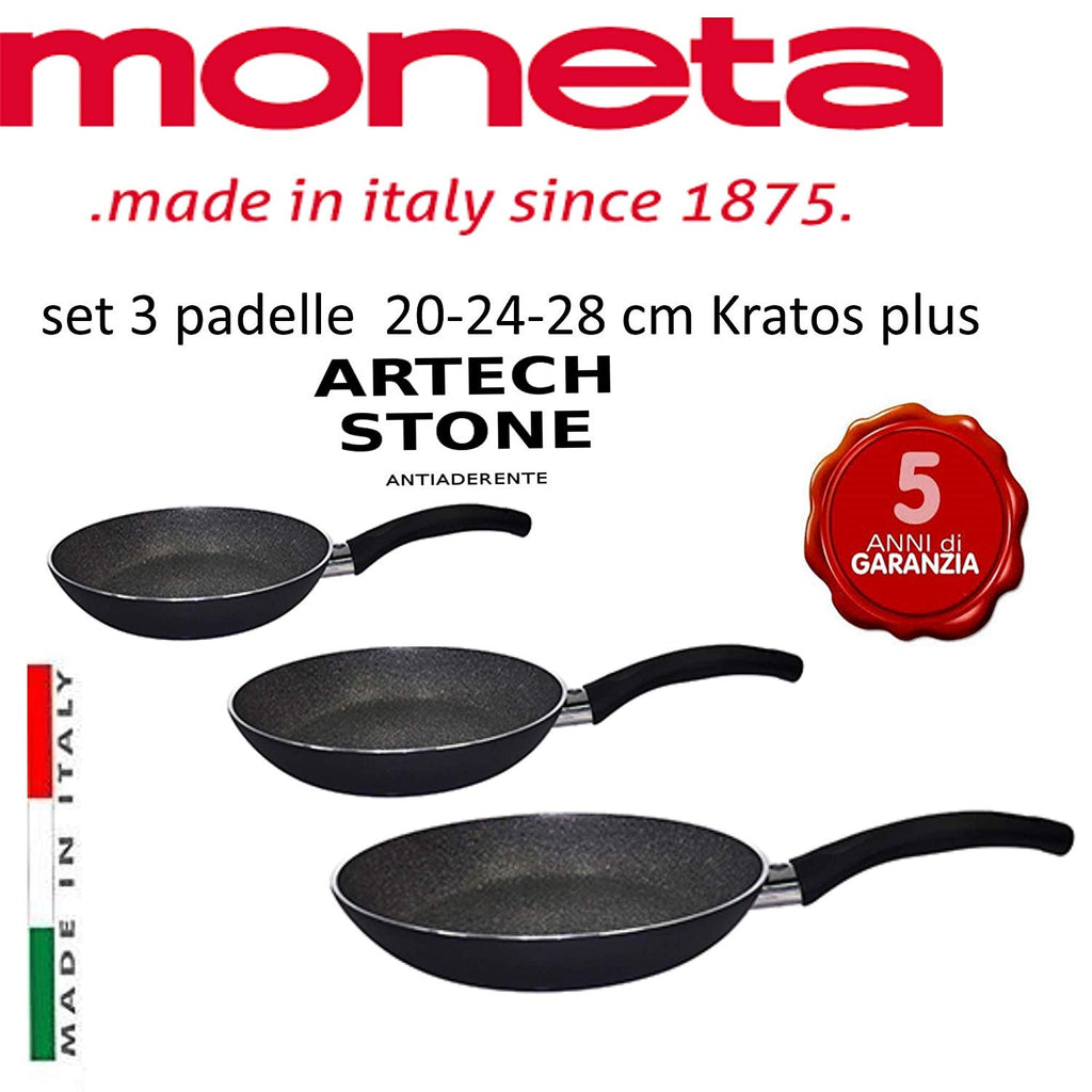 l Moneta Set 3 Padelle antiaderenti Diametro 20- 24-28 cm.Linea Sibilla Made in Italy