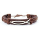 Brown Leather strap with Fish symbol(Ichthys) Bracelet