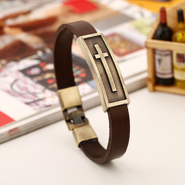 Brown Leather strap with Buckle and Brass colored Cross Bracelet