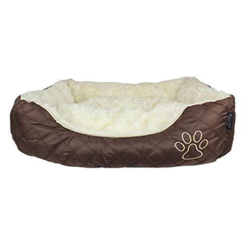 Oxford Quilted Dog Bed - Brown