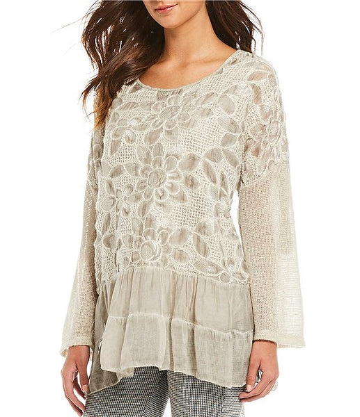 Top with Floral Woven Detail