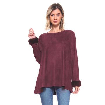 Anabelle Fur Top (Mulberry)